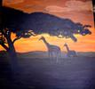 Malen, Afrika, Giraffe, Sonnenuntergang