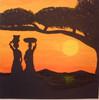 Sonnenuntergang, Acrylmalerei, Baum, Frau