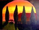 Malen, Sonnenuntergang, Toskana, Acrylmalerei