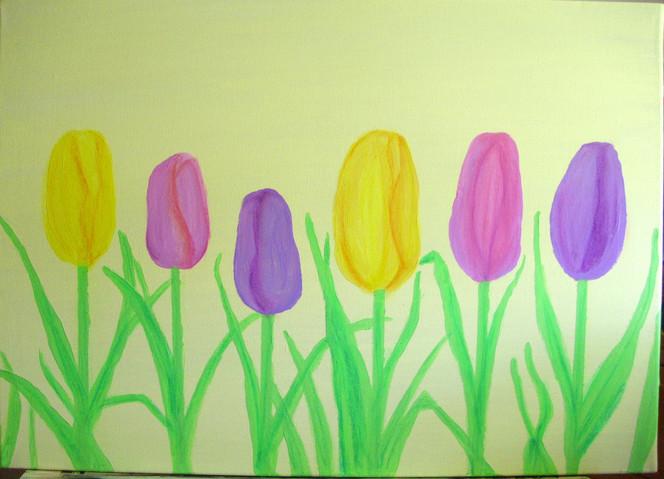 Malen, Acrylmalerei, Tulpen, Malerei