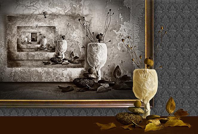 Stein, Blätter, Glas, Digitale kunst, Stillleben, Blues