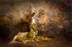 Flasche, Physalis, Birne, Digitale kunst