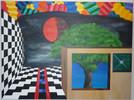 Universum, Baum, Schachbrett, Acrylmalerei