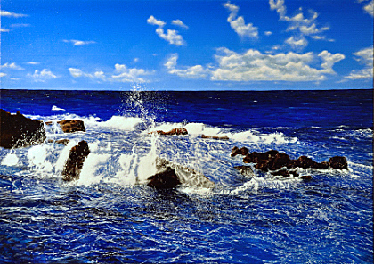 Fotorealismus, Meer, Malerei, Acrylmalerei, Blau, Landschaft