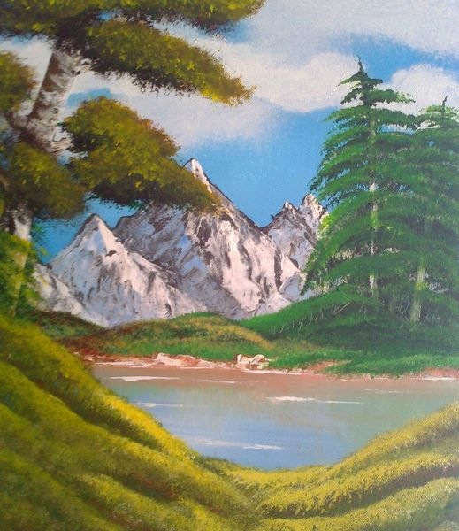 Berge, Baum, Acrylmalerei, See, Malerei