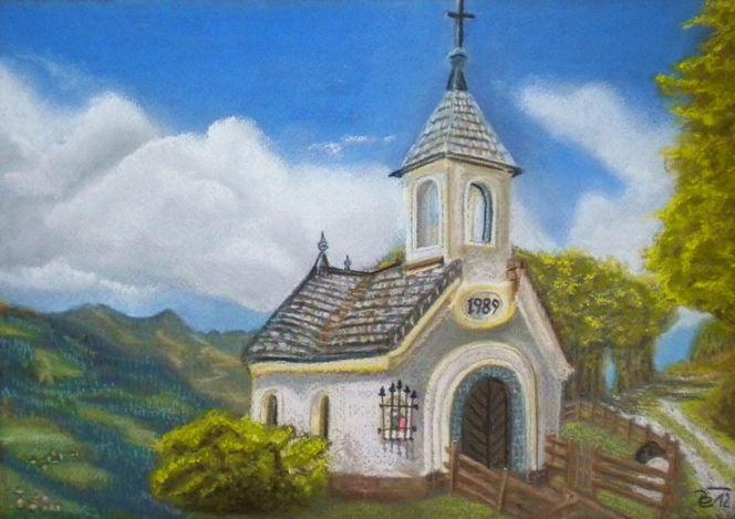 Pastellmalerei, Landschaft, Berge, Himmel wolken, Kapelle, Malerei