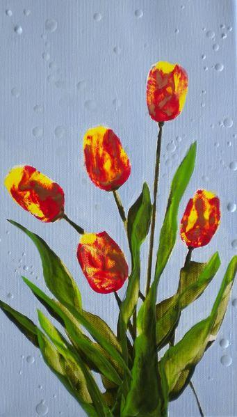 Frühling, Tulpen, Natur, Blumen, Malerei,