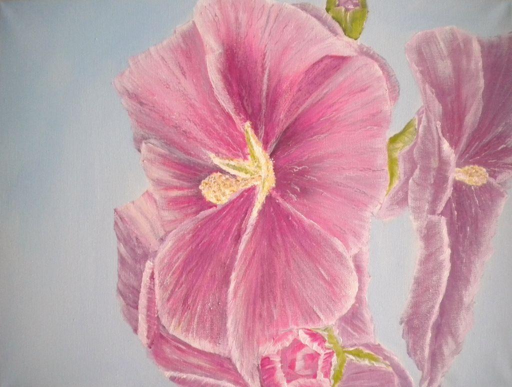 bild blumen natur rosa acrylmalerei von elke p bei kunstnet. Black Bedroom Furniture Sets. Home Design Ideas