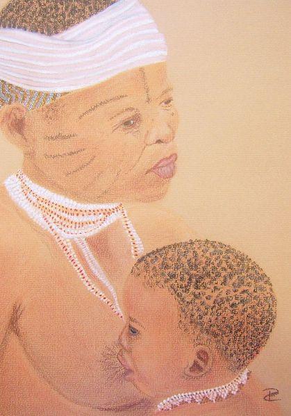 Menschen, Pastellmalerei, Kind, Baby, Afrika, Stillen