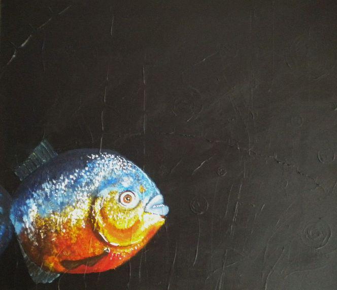 Dunkel, Piranha, Fisch, Malerei, Tiere
