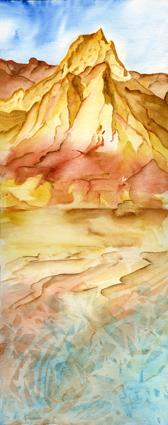 Aquarellmalerei, Berge, Landschaft, Meer, Wurst, Aquarell