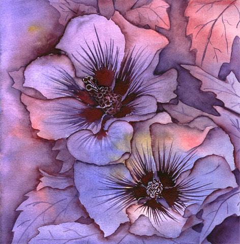 bild blumen fr hling hibiskus lila von nina vahrenkampf bei kunstnet. Black Bedroom Furniture Sets. Home Design Ideas