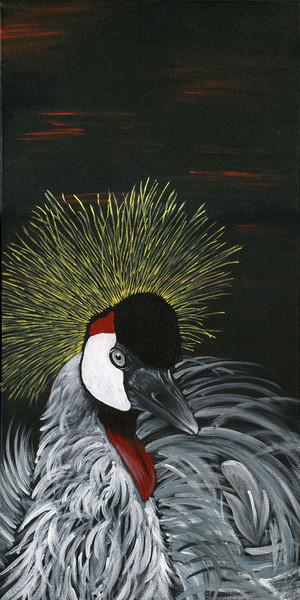 Vogel, Kranich, Schwarz, Kronenkranich, Malerei
