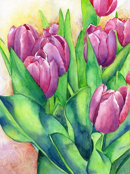 Frühling, Grün, Rosa, Tulpen, Aquarell, Locken