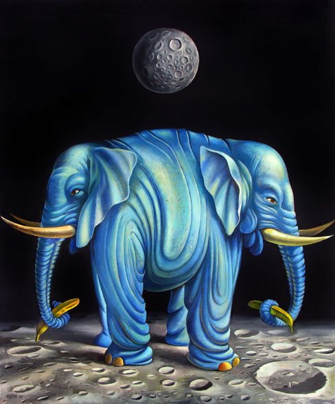 Tiere, Mond, Ölmalerei, Surreal, Elefant, Malerei