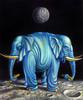 Tiere, Mond, Ölmalerei, Surreal