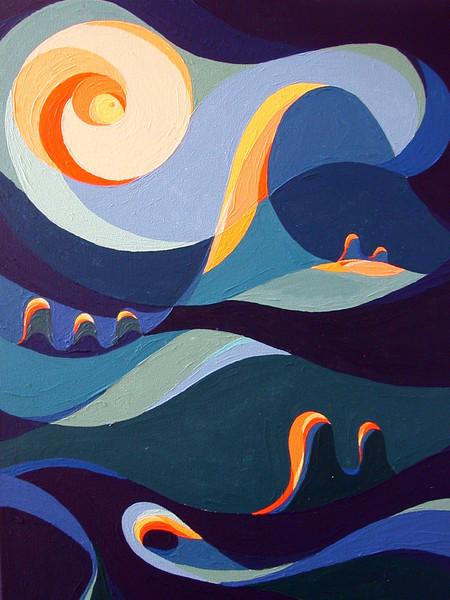 Farben, Acrylmalerei, Nacht, Landschaft, Expressionismus, Naiv