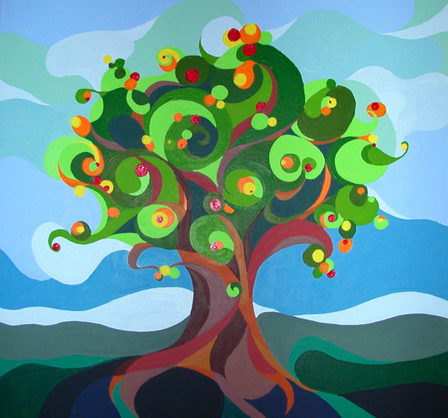 Expressionismus, Himmel, Wurzel, Blätter, Farben, Naiv