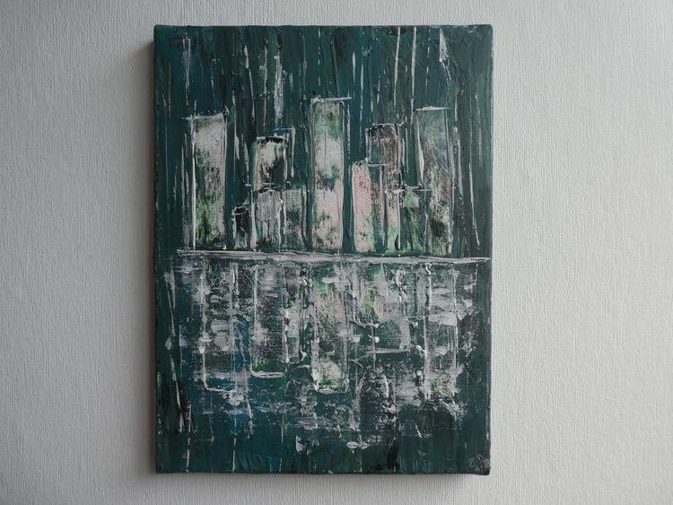 Glas, Acrylmalerei, Skyline, Abstrakt, Spachtel, Struktur