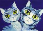 Päärchen, Katze, Tiere, Blau