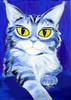 Katze, Tiere, Blau, Malerei
