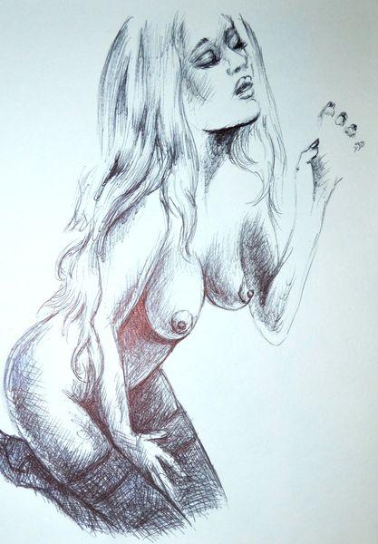 Enwfurtt, Studie, Körper, Aquarellmalerei, Erotiic, Hadzeichnung