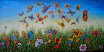 Schmetterling, Surreal, Gemälde, Wiese
