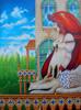 Rotkäppchen und der müde Wolf - gemälde malerei märchen phantaschtische rotkäppchen wolf