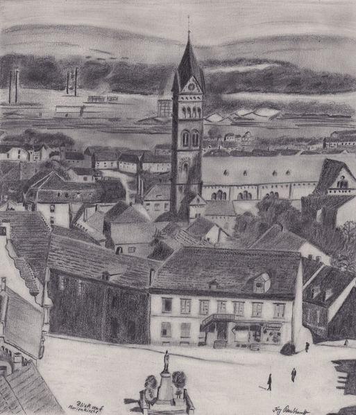 Geschichte, Neunkirchen, Schwarz weiß, Oberer markt, Bleistiftzeichnung, Zeichnungen