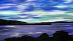 Wasserlandschaft, Berge, Wolken, Meer