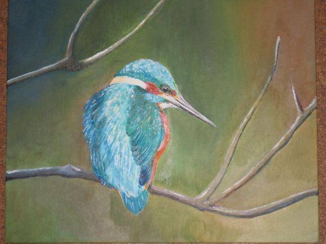 Tiere, Malerei, Eisvogel
