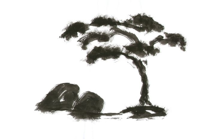 Gartenkunst, Landschaft, Stein, Japanisch, Steingarten, Japan