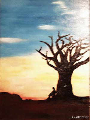 Ruhe, Sonnenuntergang, Baum, Einsamkeit, Malerei, Pflanzen