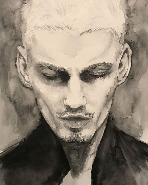 Gesicht, Zeichnung, Monochrom, Grafik, Portrait, Aquarellmalerei