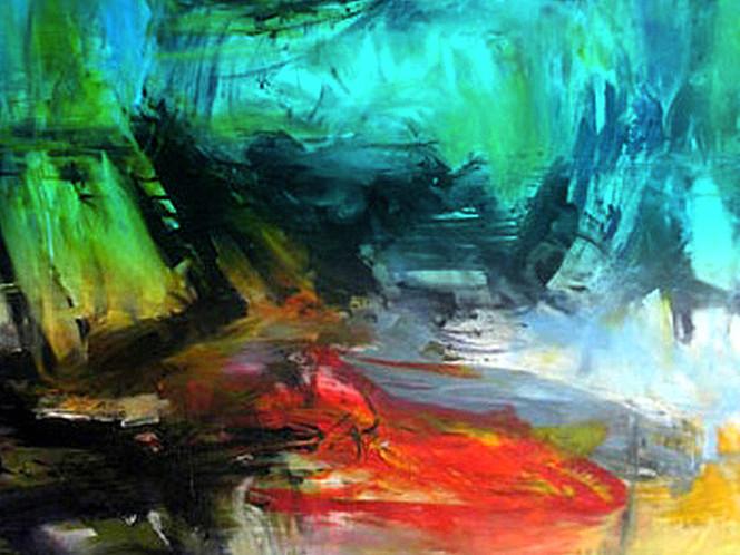 Blau, Sturm, Witterung, Abstrakt, Grûn rot gelb, Malerei