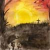 Friedhof, Morgenrot, Sonnenaufgang, Malerei
