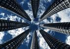 Design, Hochhaus, Perspektive, Wolken