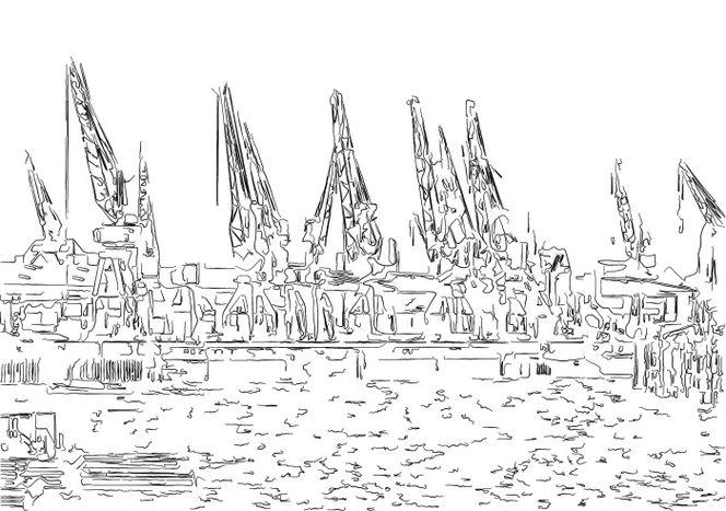 Kran, Hafen, Hamburger, Schiff, Illustration, Zeichnung
