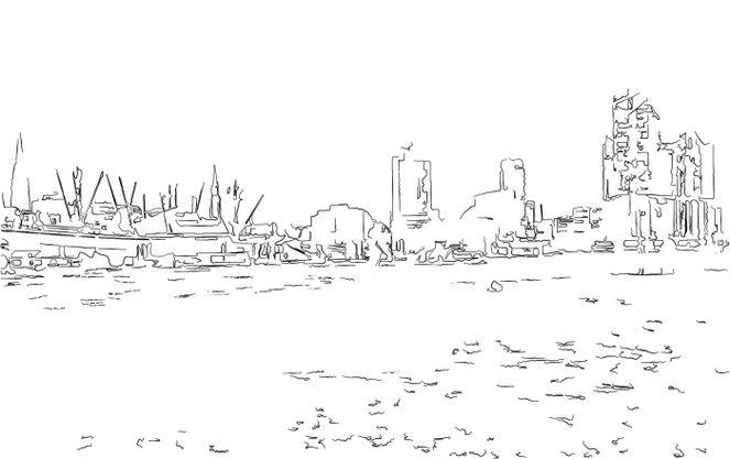 Hafen, Hamburger, Hafencity, Illustration, Zeichnung, Zeichnungen