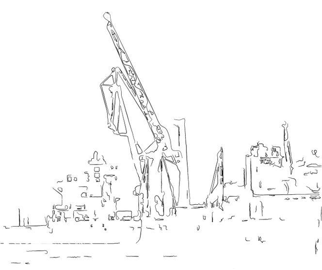 Kran, Hafen, Illustration, Hamburger, Schiff, Zeichnung
