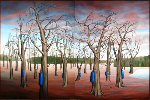 Wald, Baum, Beatmung, Umwelt, Malerei, 1989