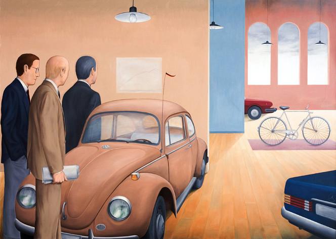 Wirtschaft, Fahrrad, Ölkrise, Umwelt, Auto, Malerei