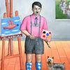 Der verhinderte Künstler - bayern deutschland hakenkreuz hitler hund kunst kunstakademie landschaft lederhose maler neuschwanstein staffelei taube terrier wien österreich