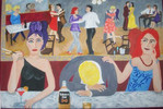 Frau, Betrunkene, Spiegel, Tanz