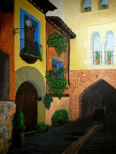 Haus, Acrylmalerei, Mittelalter, Spanien, Dorf, Straße