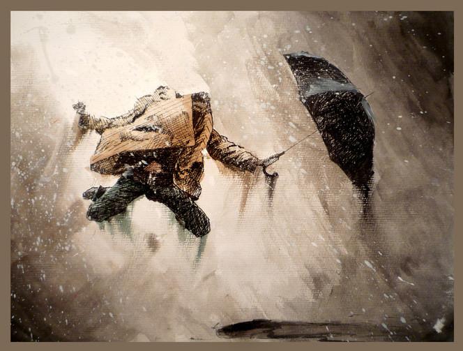 Malerei, Mann, Regen