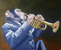 Malerei, Ganzes, Schimpanse, Trompete