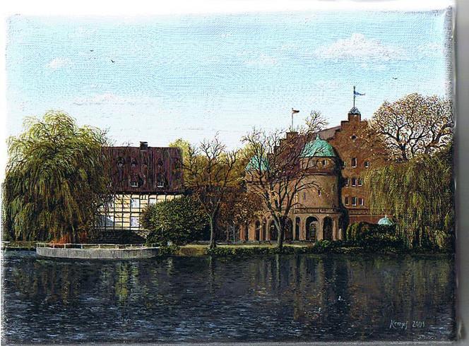 Feinmalerei, Realismus, Landschaft, Schloss, Malerei