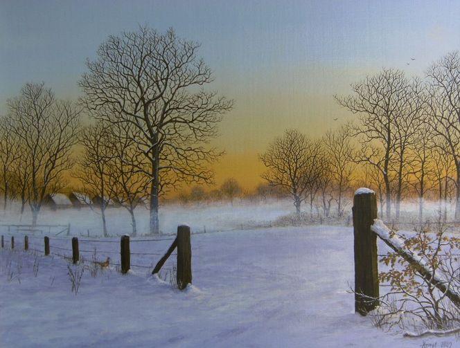Romantik, Landschaft, Winter, Feinmalerei, Realismus, Schnee