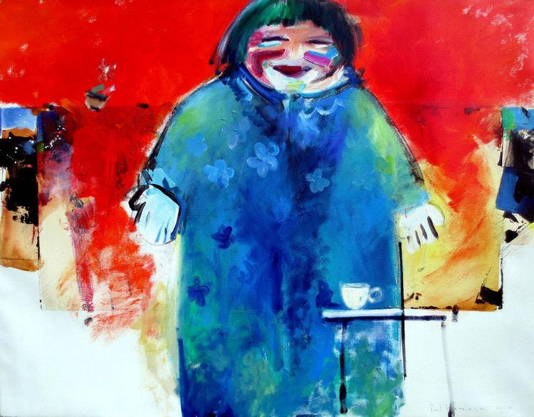 Frau, Figur, Farben, Tisch, Malerei, Ölmalerei